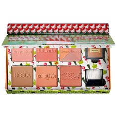 Benefit Cosmetics Cheeky Sweet Spot Box O' Blushes: a kit with four of Benefit's must-have blushes, highlighters, and a powder.