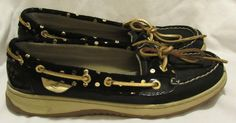 Sperry Top-Sider Boat Dockside Shoes 7 M Black Leather Gold accents Low Wedge  #SperryTopSider #BoatShoes #Casual