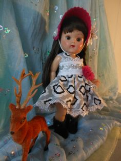 Christmas Party dress with hat. Made to fit Ginny Muffie Pam Ginger dolls