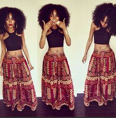 Natural hair...love the African- like look of the printed skirt...nice...i'd totally rock this!