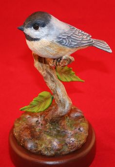 Chickadee wood carving Bird FigurineOOAK by CarvingsAndCastings, $125.00