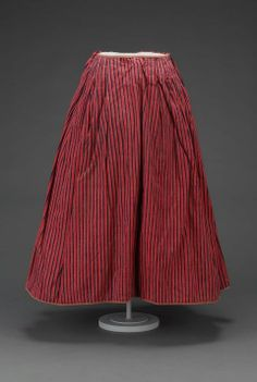 Petticoat  Possibly French or English, late 18th century  DIMENSIONS  33 x 31 cm (13 x 12 3/16 in.)  MEDIUM OR TECHNIQUE  Wool with wool twill tape hem binding and ties  CLASSIFICATION  Costumes  ACCESSION NUMBER  43.575,  Red and blue heavy striped wool petticoat    CREDIT LINE    The Elizabeth Day McCormick Collection