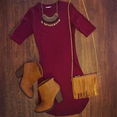 Lenora Dress - Burgundy from Shop Priceless. Saved to Dresses. Shop more products from Shop Priceless on Wanelo. Cute Dresses, Casual Dresses, Casual Outfits, Cute Outfits, Fall Winter Outfits, Autumn Winter Fashion, Summer Outfits, Burgundy Dress Outfit, Dress Outfits