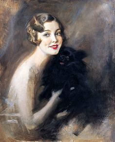 """Portrait of a Lady with a Little Black Dog"" by Tade Styka (1889-1954)."