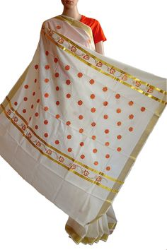 Traditional #Kasav #saree with Floral #embroidered motifs. Beautiful shade of colour - off white with Orange. Graceful and elegant, perfect for casual year. (Fabrics of #India - www.facebook.com/fabricsofindia2013) Price: USD 55