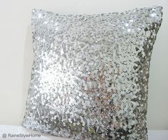 Starry Night. Luxury Glamour. Silver Sequins Embellished Pillow Cover. Hand Sewn. $32.50, via Etsy.