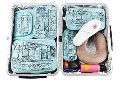 LYCEEM Packing Organizer Value Set for Travel Packing Cubes Toiletry kit Shoes Electronics Organizer Bag fit 24 Carry-on Luggage