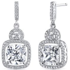 Peora.com - Sterling Silver Cushion and Round White Cubic Zirconia Earrings SE8296, $64.99 (http://www.peora.com/sterling-silver-cushion-and-round-white-cubic-zirconia-earrings-se8296/)