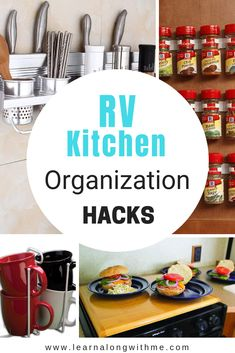 This post has RV organization hacks and RV Kitchen organization ideas that will help you maximize space in your small RV Organisation Hacks, Travel Trailer Organization, Camping Organization, Kitchen Organization, Kitchen Organizers, Motorhome Organisation, Rv Hacks, Camper Hacks, Life Hacks