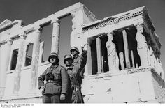 On 27 April 1941 the first German troops enter Athens and a brutal axis occupation begins. German troops next to Erechtheion in the Acropolis, May Story Of The World, German Army, Historical Pictures, Military History, World War Ii, Troops, Albania, Germany, Athens Greece