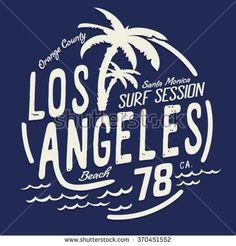 Los Angeles surf typography, t-shirt graphics, vectors