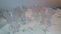 set of 4 vintage crystal bud vases, lead crystal, bud vases, wedding reception accessories, by NanaPapShop on Etsy