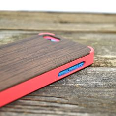 Wood iPhone 5C Case Pink  Handcrafted Real Walnut by tmbrwood