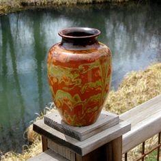 Vintage French Pottery Vase Marble Glaze by RiverHouseArtPottery, $78.00
