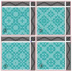 Drafts for Lace & Spot Weave Variations - Samples on 8 shafts; threading and treadlings same, tie-ups vary