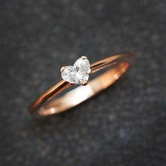 Solitaire Engagement Ring Heart Diamond Ring by SillyShinyDiamonds
