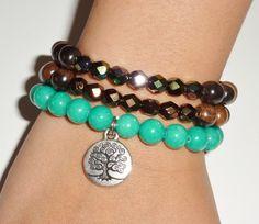 Ebony Tiger Wood Beaded Bracelet Set with Faceted by rockstarsz, $23.99