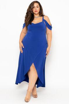 2d03a21efac Plus Size Vienna Cold Shoulder Dress- Blue – Curvy Sense Blue Plus Size  Dresses,
