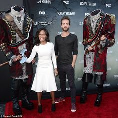 Seriously spooky! Sleepy Hollow co-stars Nicole Beharie and Tom Mison had a ball playing around with a couple of headless horsemen as they a...