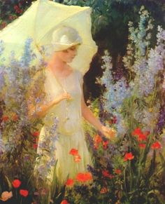 ⊰ Posing with Posies ⊱ paintings of women and flowers - Blue Delphiniums by Charles Courtney Curran