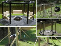 Swinging Benches Around a Fire Pit