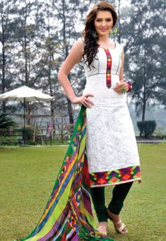 White Cotton Churidar Kameez @ $86.00