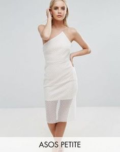 ASOS PETITE Geo Mesh Asymmetric Bodycon Dress