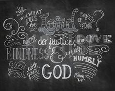 Micah 6:8 Chalkboard Print by kendrahouse $12