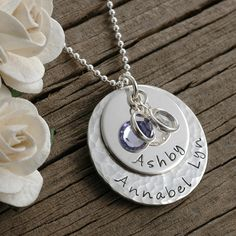 Personalized hand stamped necklace with hammered finish, $49, http://www.etsy.com/shop/divinestampings