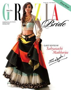 A modern quirky version of a Sabyasachi lehenga. Love the styling by Grazia India magazine. Indian Attire, Indian Outfits, Indian Dresses, Indian Clothes, Western Outfits, Pakistani Dresses, Ethnic Fashion, Asian Fashion, Women's Fashion