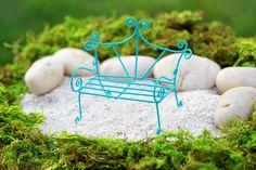 Fairy Garden Bench miniature furniture accessories bright robin's egg blue terrarium whimsical style