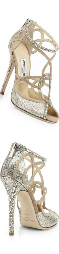 Jimmy Choo ~ Swarovski Crystal-Covered Suede Sandals, White