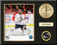 One 8 x 10 inch Florida Panthers photo of Jose Theodore inserted in a gold slide-in frame and mounted on a 12 x 15 inch solid black finish plaque.  Also features a 3-inch Arabian gold-faced clock, a customizable nameplate* and a 2-inch hockey medallion with a gold base. $159.99 @ ArtandMore.com