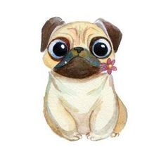 new Ideas dogs drawing pug Animal Drawings, Cute Drawings, Dog Drawings, Tatoo Dog, Pug Cartoon, Pug Art, Arte Sketchbook, Dog Wallpaper, Art Graphique