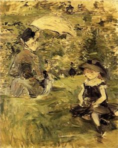 Young Woman and Child on an Isle - Berthe Morisot, 1883