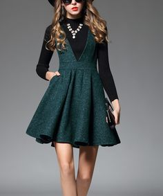 Take a look at this SSXR Green Faux V-Neck Wool-Blend Fit & Flare Dress today!