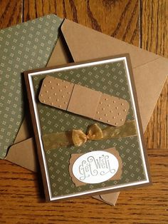 handmade get well card with matching envelope lining ... punch art bandaid ... masculine colors ... Stampin' Up!