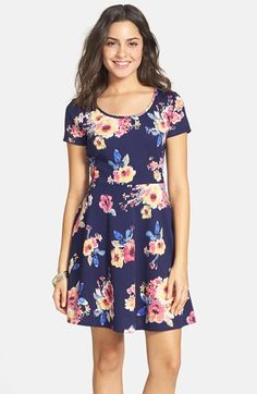 Frenchi® Floral Print Skater Dress (Juniors) available at #Nordstrom