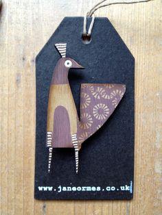 Wooden screenprinted peahen brooch by Jane Ormes