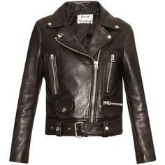 Acne Studios Mock leather biker jacket ($1,626) ❤ liked on Polyvore featuring outerwear, jackets, black, black moto jacket, black biker jacket, leather moto jacket, leather biker jacket and cropped leather jacket