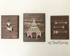 String art feather and arrow set by my2heARTstrings | Etsy
