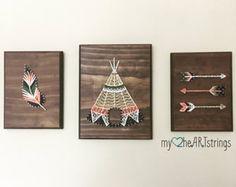 Aime ma tribu string art trio-plume, la flèche, le tipi