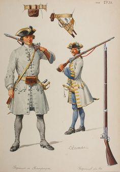 Private Régiment de Champagne and Grenadier du régiment du Roi - 1735, by Lucien Rousselot.