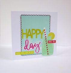 July - Happy Day Card, by Lisa Saunders using the Firefly collection from www.cocoadaisy.com #cocoadaisy #scrapbooking #kitclub #cards #doodle #glitter #diecuts #stickers