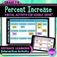 Middle school students will practice percent increase using this interactive digital math Activity! 18 practice problems for students to calculate the percent increase of a given value. #distancelearning #7thgrademath #googleslides #googleclassroom Teaching 6th Grade, 7th Grade Math, Math Lesson Plans, Math Lessons, Upper Elementary Resources, Teaching Resources, Math Classroom, Google Classroom, Fun Math Activities
