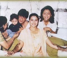 SRK with Gauri and Aryan . . . At Kajol mehndi Ceremony