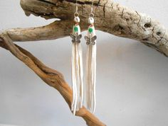 White Leather Fringe Earrings Tassel by FaeMoonWolfDesigns on Etsy