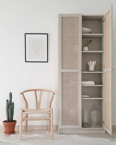 IKEA Billy bookcase hack with custom cane doors Ikea Hackers, Cane Furniture, Ikea Furniture, Burlap Furniture, Office Furniture, Ikea Billy Bookcase Hack, Billy Bookcases, Billy Bookcase With Doors, Ikea Billy Hack