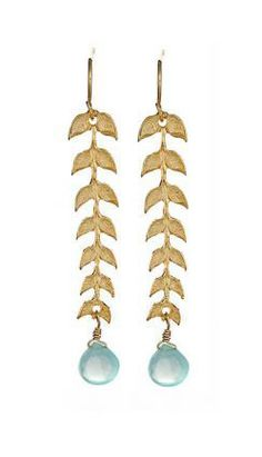 Feather Leaf Dangle Earrings (Chalcedony)