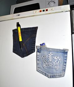 Denim Pocket Fridge Magnets-I like this for my pen next to my magnetic note pad Love it! Find magnets, glass tiles, adhesives here: www.eCrafty.com